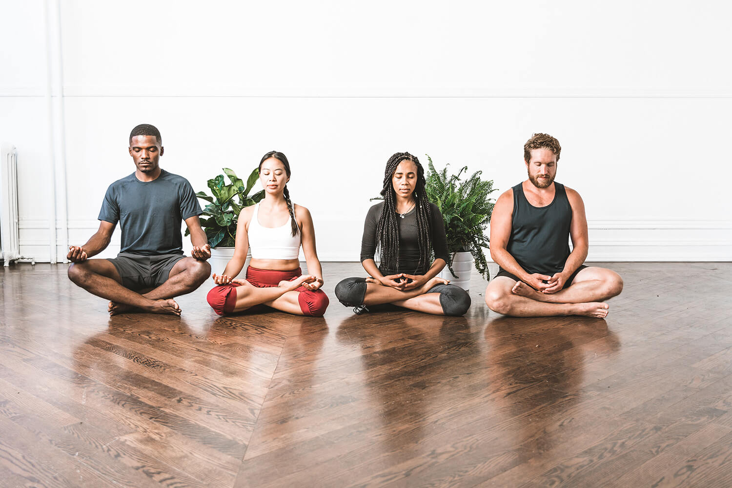 people in seated meditation